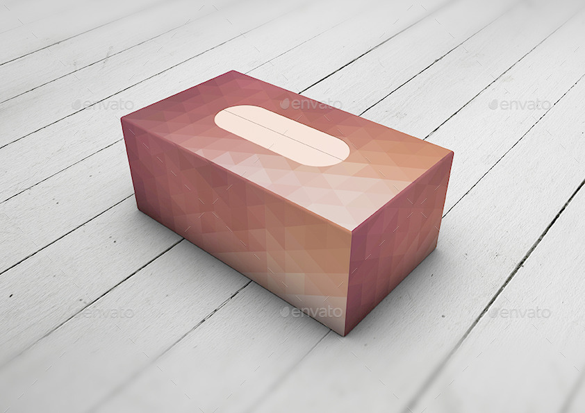 Cardboard Paper Print Tissue Box PSD File Illustration