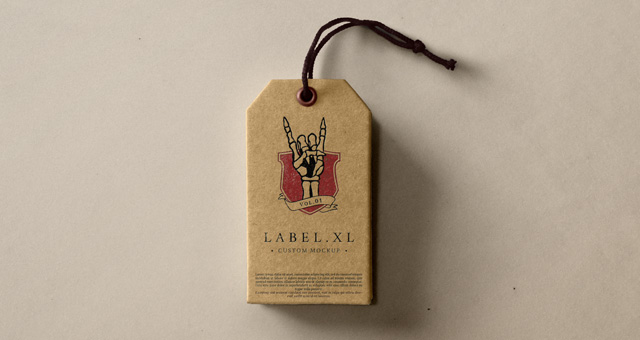 Cardboard Paper Slim Hang Tag Mockup Illustration