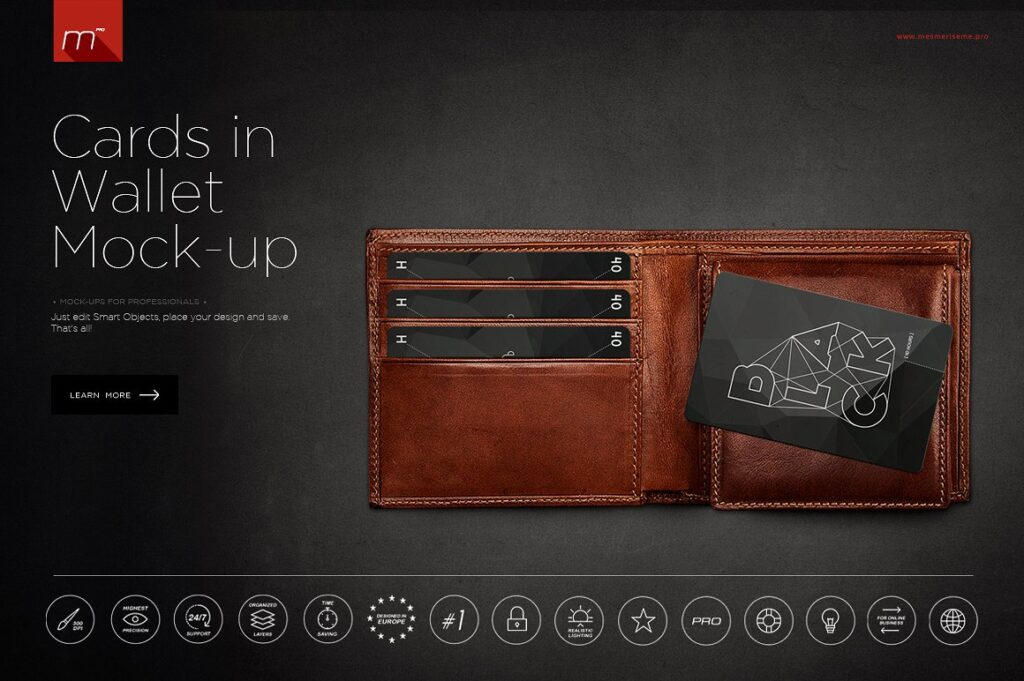 Cards Collection In Wallet Mockup.