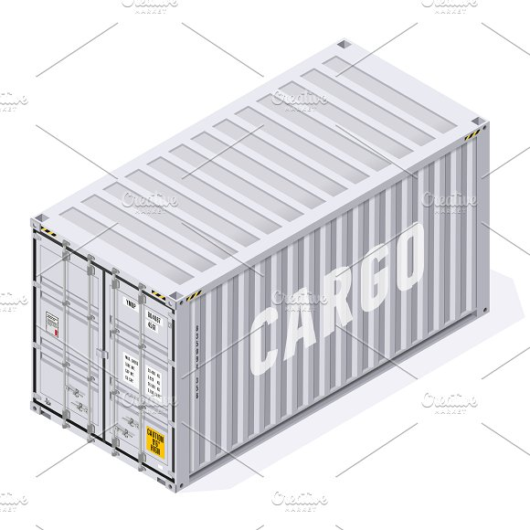 Cargo Shipping Container Set Mockup