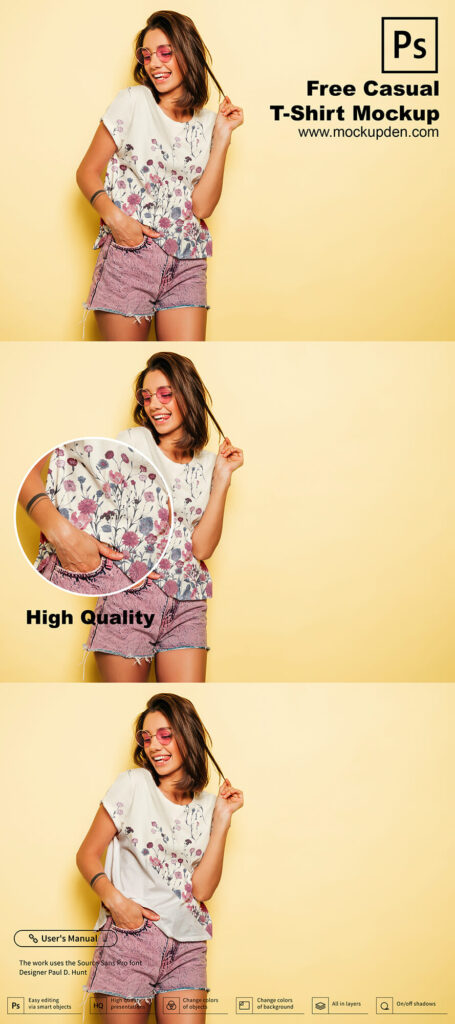 Free Casual T-Shirt Mockup PSD Template