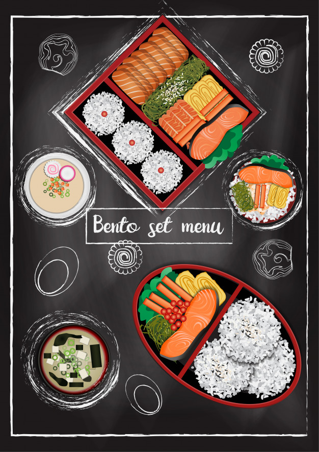 Chalkboard Background Sushi Box Vector Design