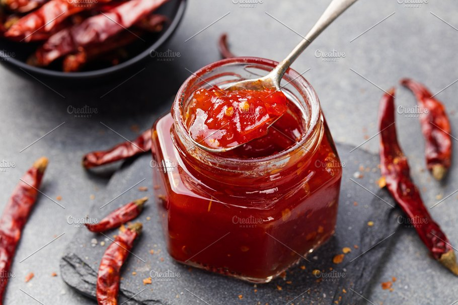 Chili Sauce In Jar Mockup Illustration