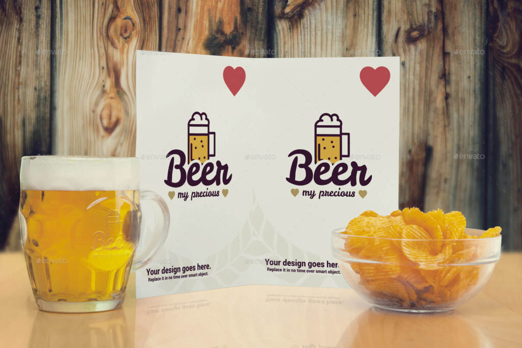 Chips and Beer Bottle Design Combo in PSD: