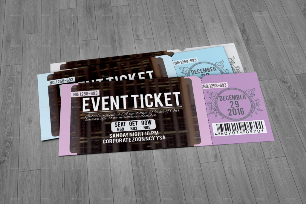Clean Event Ticket PSD Mockup