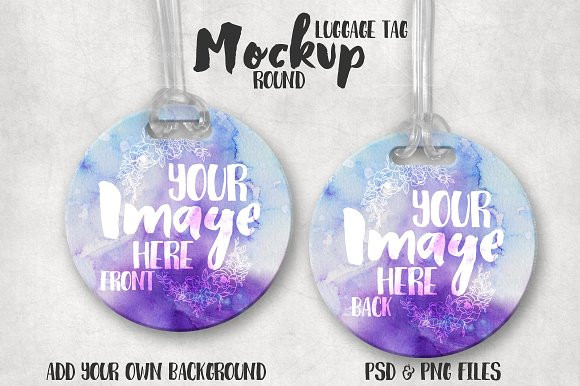 Clean background Round Luggage Tag Mockup