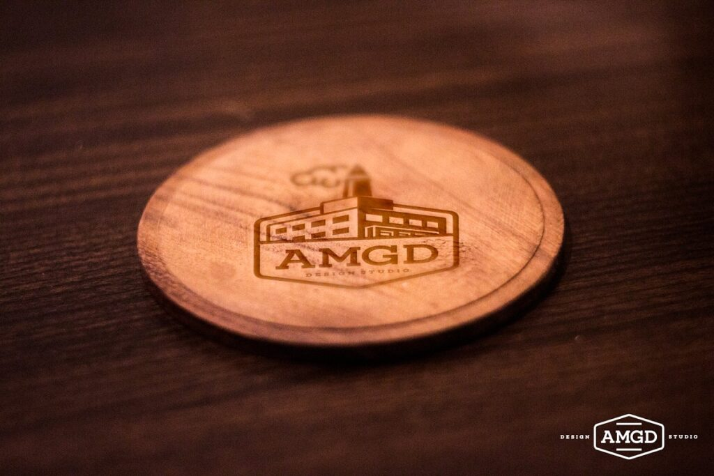 Coaster On A Wooden Table Design.
