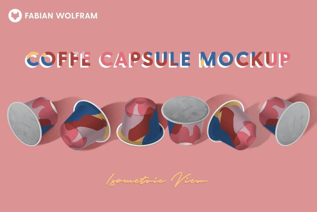 Coffee Capsule Mockup (Isometric)