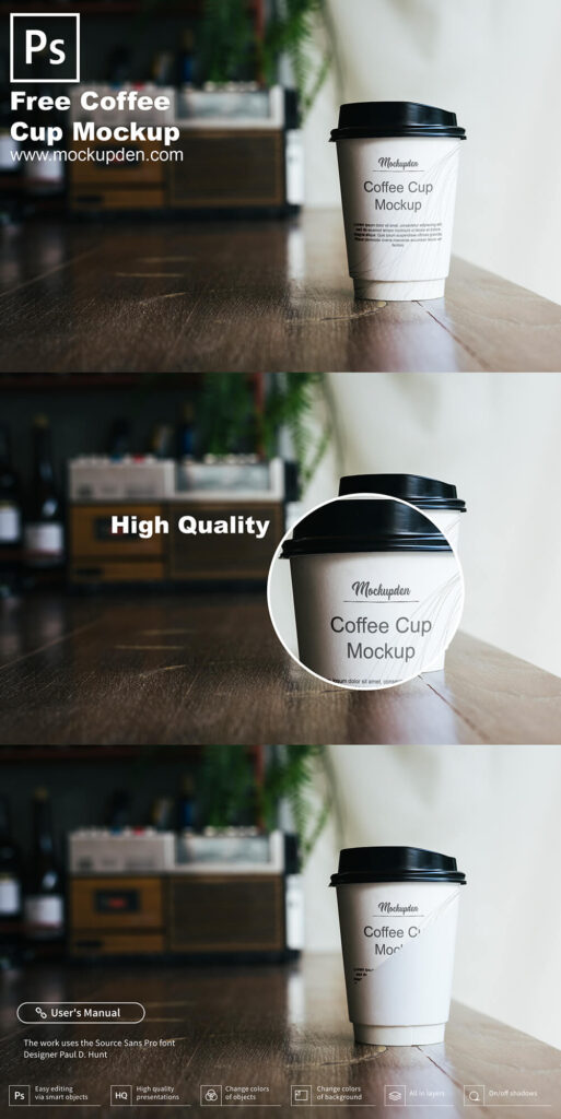 Free Coffee Cup On a Table Mockup PSD Template