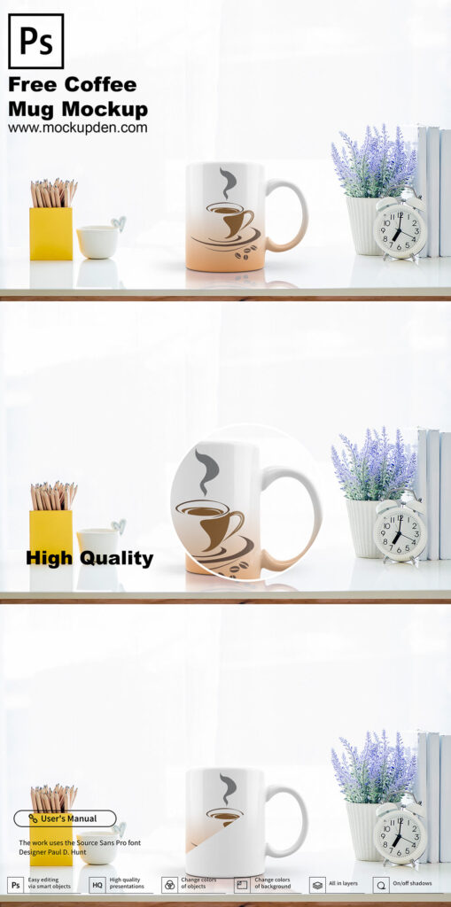 Free Coffee Mug On a Table Mockup PSD Template
