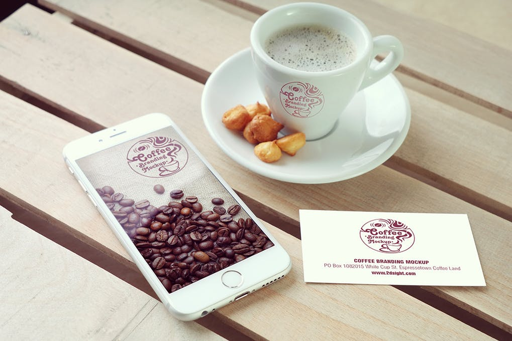Coffee placed on a wooden table inside a Cafe PSD Mockup