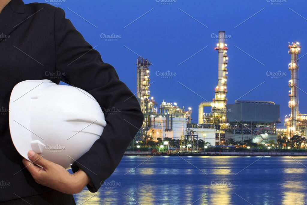 Corporate Area Scene With Crop Photo Of Boy With White Hard Hat