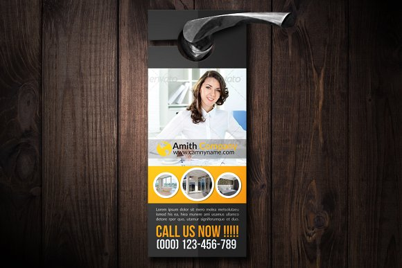 Corporate Door Hanger Mockup PSD: