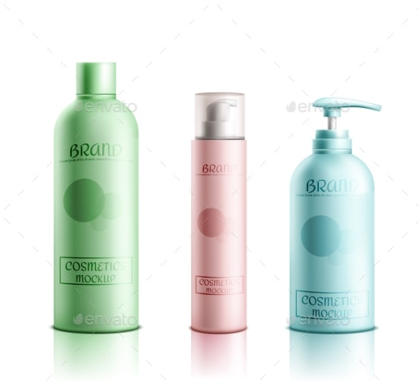 Cosmetics Products Packaging Realistic Vector Set