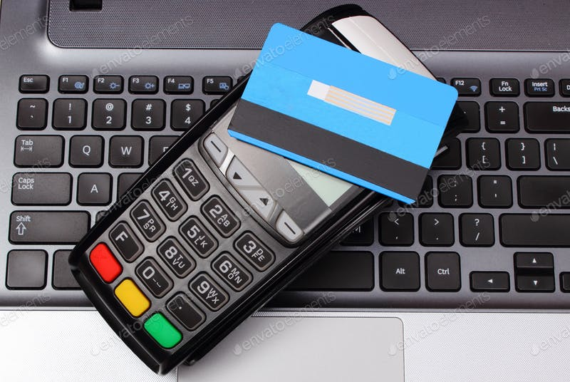 Credit Card With A Payment Terminal Mockup.
