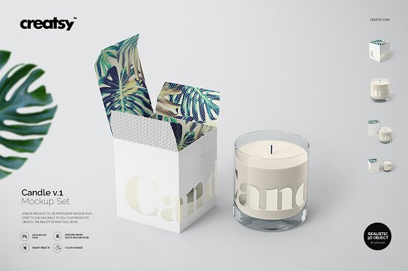 Crystal Clear Candle Glass PSD Design