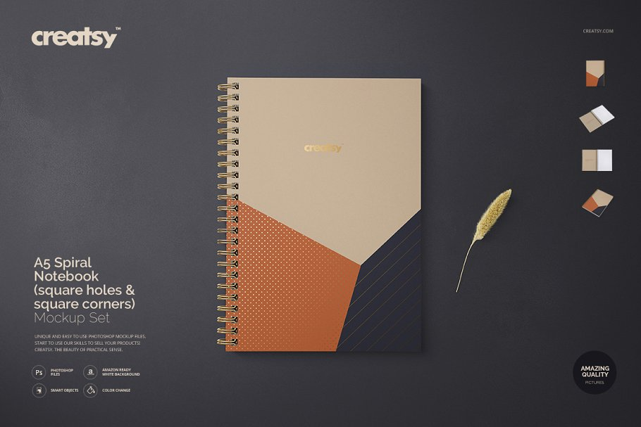 Customizable A5 Spiral Note Book Mockup.
