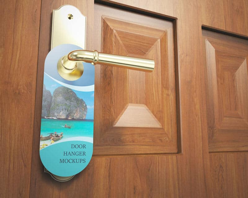 Customizable Door Hanger Mockup PSD: