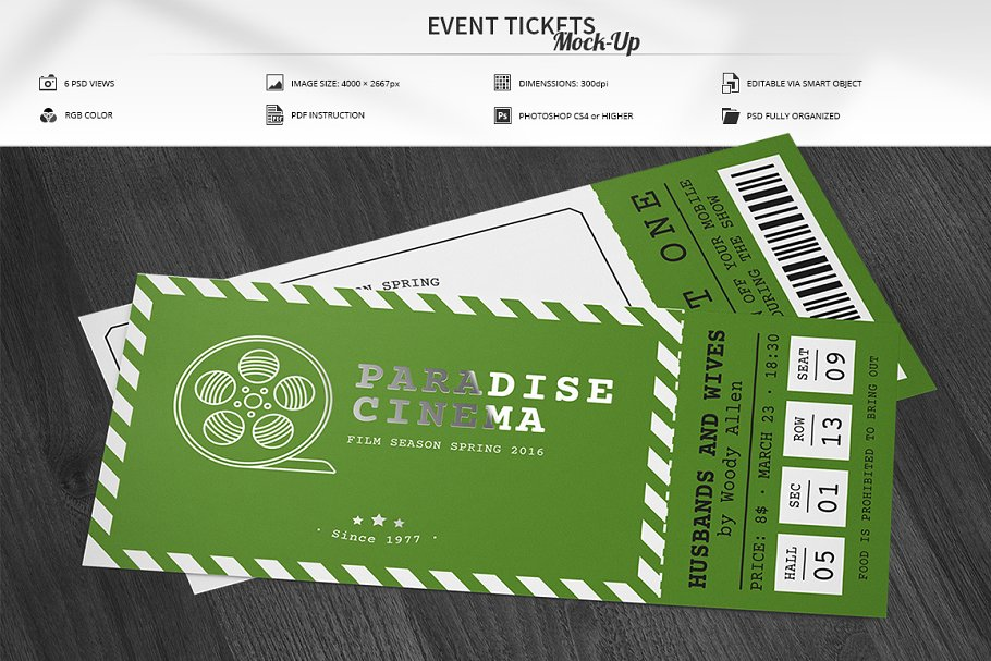Customizable green color ticket illustration