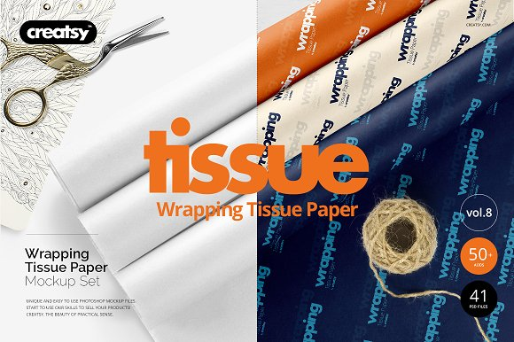 Customizable tissue Wrapping paper PSD