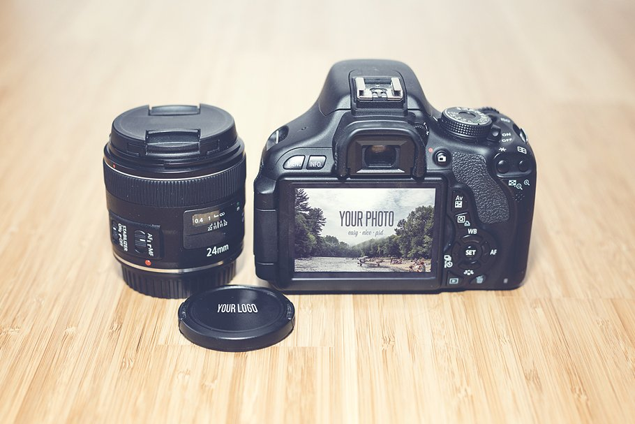 DSLR Camera And Lens Beside Mockup