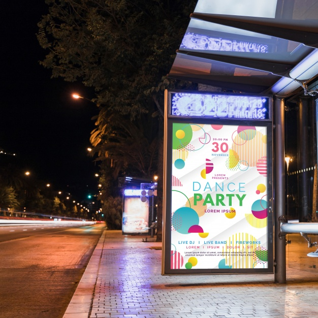 Dance party street billboard mockup