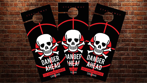 "Danger Ahead"" Quotes Written Door Hanger Mockup PSD"