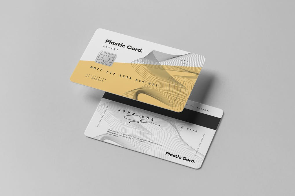 Debit Card Dual Color Plastic Mockup.