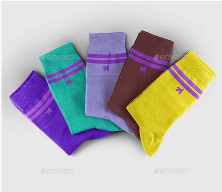 Design Printed Socks With Cardboard PSD Mockup.