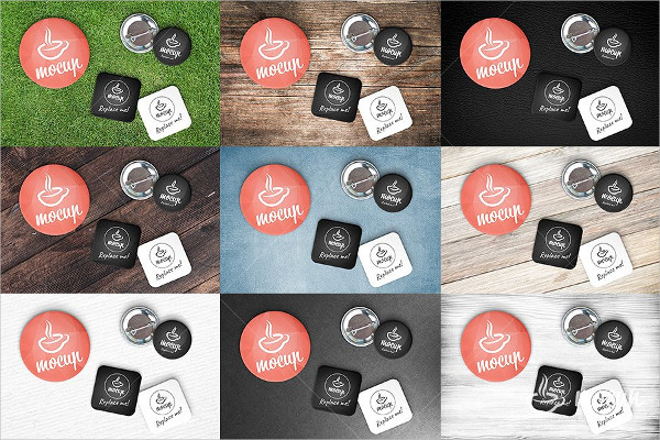 Designing Pin Button Badge Mockup PSD