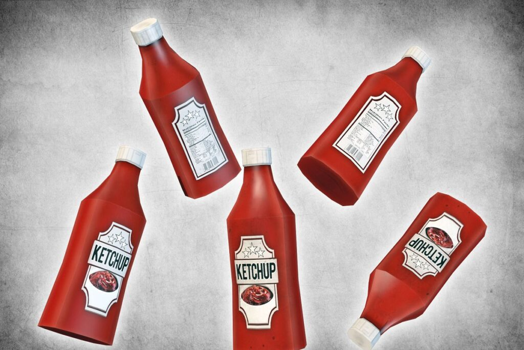 Different Angles Of The Sauce Bottle PSD template.
