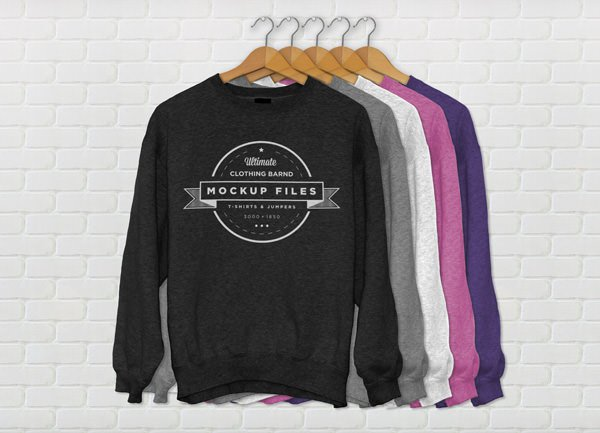 Different Color Hanging Full Sleeves T-Shirt Mockup
