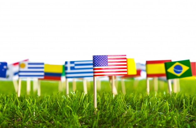 Different Countries Flag Punctured Mockup.