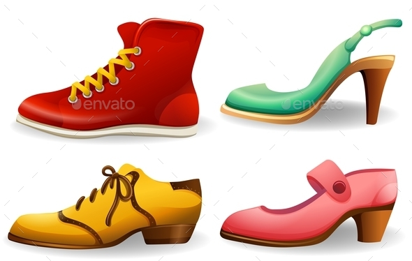 Different Designs Of Shoes Vector