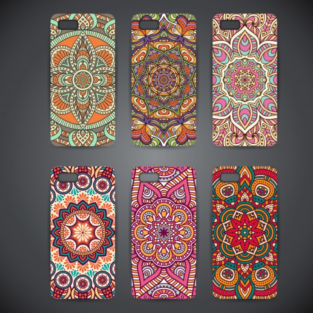 Different Designs Of Texture Printed On Case Cover Mockup.