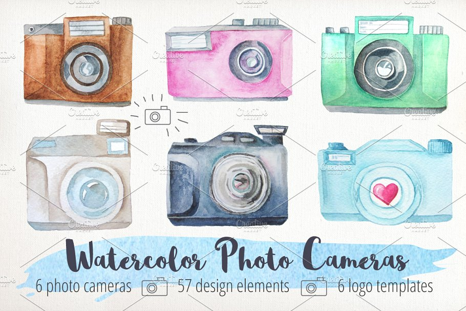 Different Designs Of Watercolor Camera PSD Template.