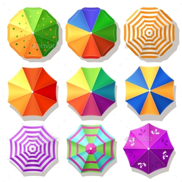 Different Shaped And Designs Of Umbrella Vector.