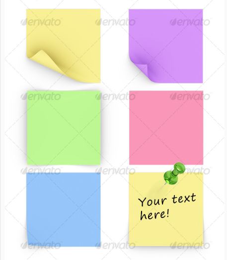 Different Sticky Notes with Push Pin Photo