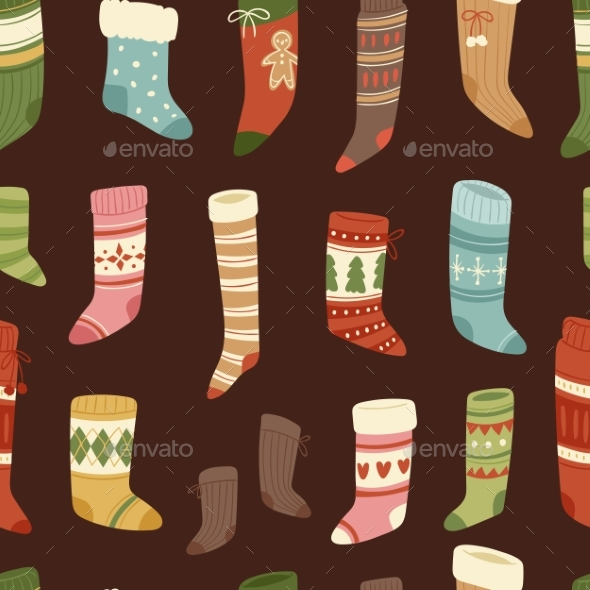 Different designs Of Socks For New Year And Christmas Vector.
