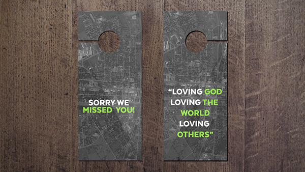 Door Hanger on Woods and Floor Mockup: