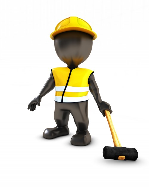 Dummy Wearing Yellow Uniform And Hard Hat