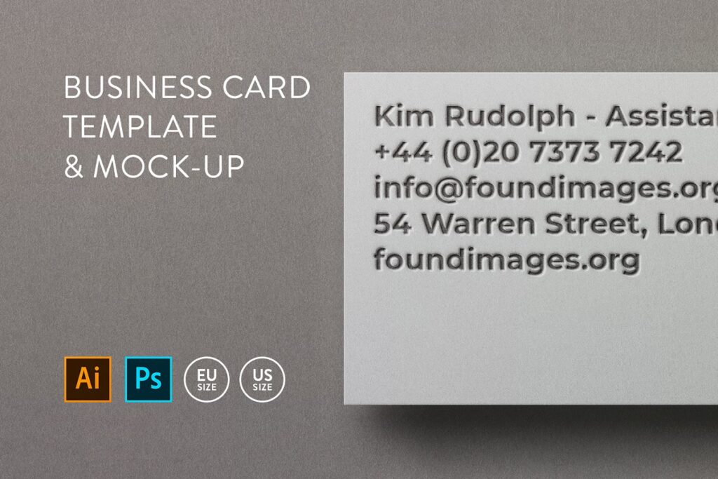 EU Size Text Embossed Business Card In PSD File Format