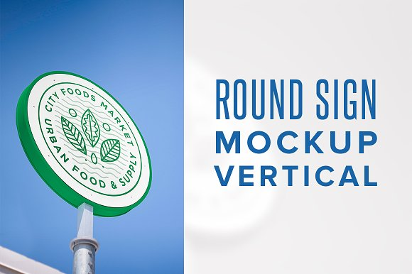 Eco Friendly Round Shaped Sign Board Mockup.