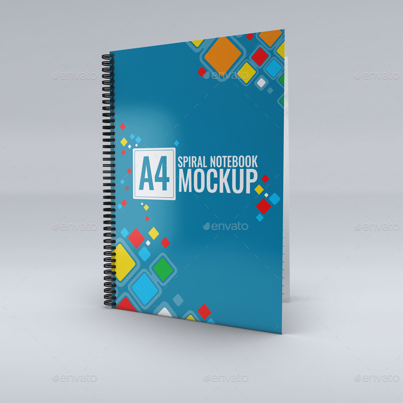 Editable A4 Spiral PSD Notebook Design Mockup
