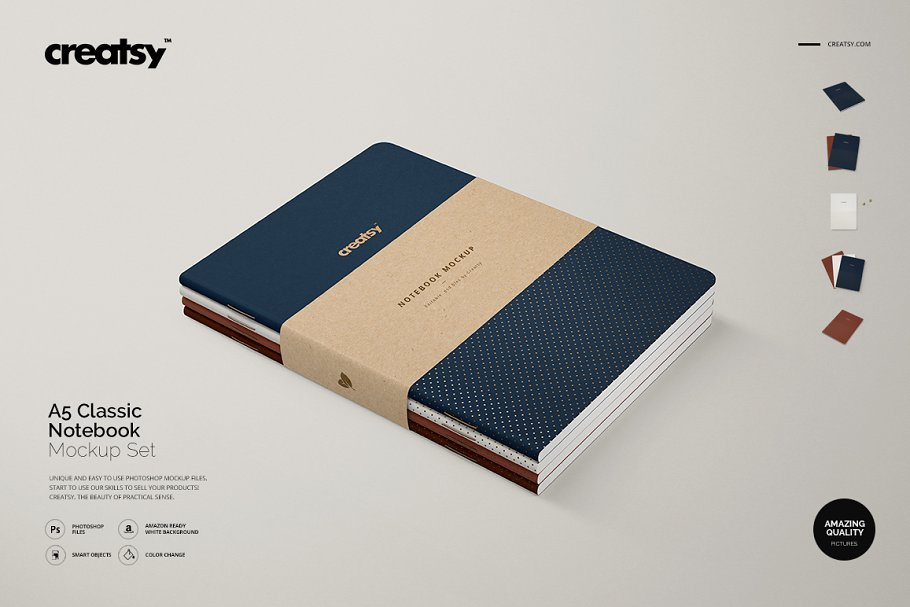 Editable A5 Classic Notebook PSD Template.