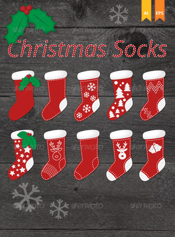 Editable Christmas Socks Vector.
