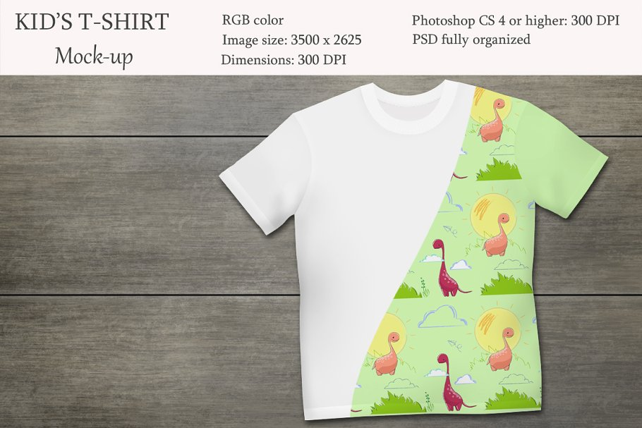 Editable Kid's T-shirt PSD Mockup.