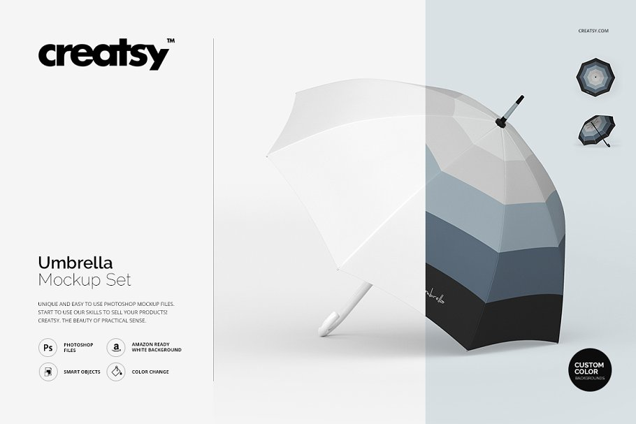Editable Sets Of Umbrella PSD Mockup.