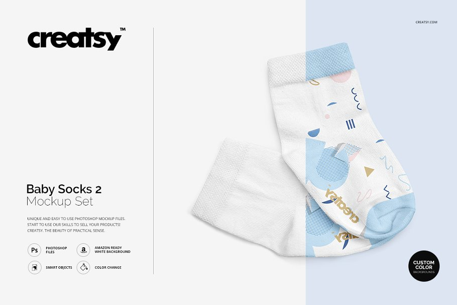 Editable Socks For Baby Mockup.