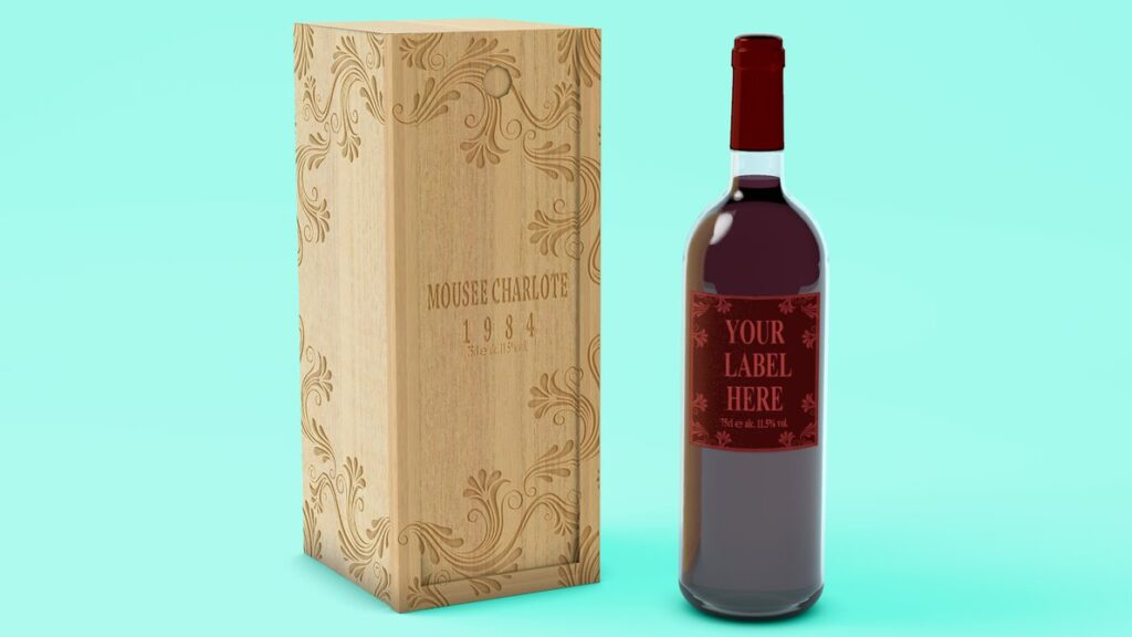 Editable Wooden Wine Case PSD